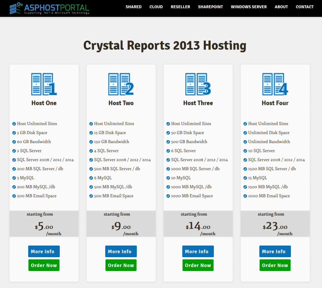 Best ASP.NET Hosting for Crystal Reports 2013 Pricing
